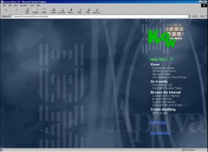 The Access Aptiva Software open in Internet Explorer 5.
