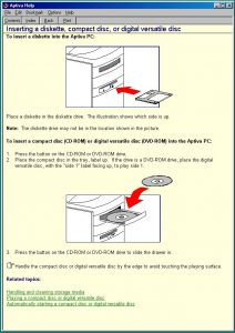 The Aptiva Help guide open on the diskette and CD-ROM section.