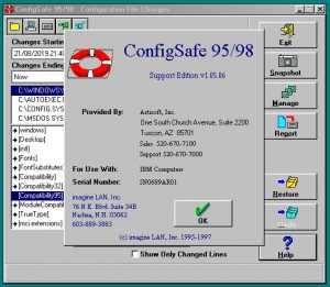 ConfigSafe 95/98 running, displaying its about dialog.