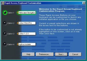 IBM rapid access keyboard open on the main customization screen.