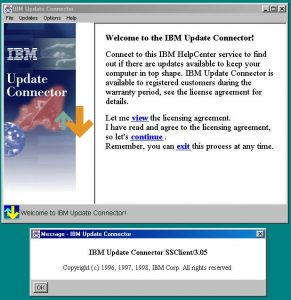 The IBM Update Connector running, displaying its about dialog.