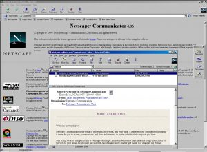NetScape Communicator 4 open, with Netscape Messenger open ontop.