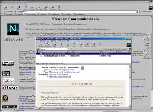 NetScape Communicator 4 open, with Netscape Messenger open ontop.
