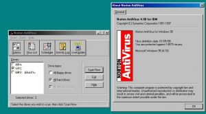 Norton AntiVirus 4.08 for IBM with its about dialog open.