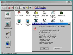 PC-Doctor open on the Diagnostics view with the about dialog open.